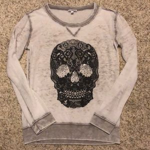 Express Size XS baby Tee Long sleeve w/ Skull